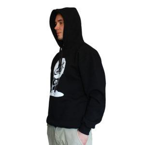 bluza z kapturem psik czarny bok